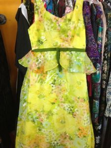 Yellow and green floral chiffon maxi gown, aka Forest Fairy, Wood Nymph - from Vintrowear